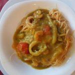 Curry di calamari e gamberi (con spaghetti di soia e zucca)